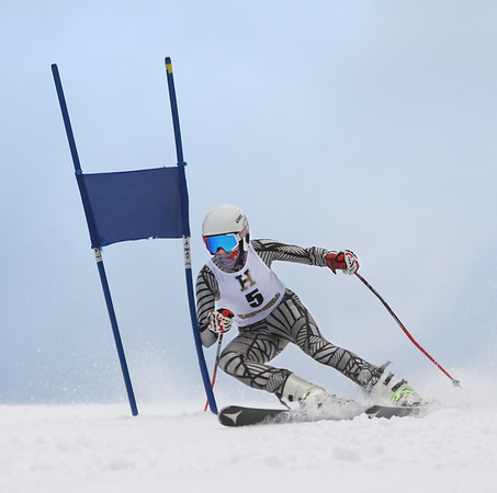 MIKE SPRINGER/Staff photo<br /> Paul Parachojuk of Pentucket Regional High School competes in the giant slalom event as part of the Haverhill High School ski team Friday at the Bradford Ski Area in Haverhill.