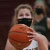 MIKE SPRINGER/Staff photo<br /> Abigail Gillingham prepares to make a free throw during varsity basketball action Monday against Manchester Essex in Newburyport.