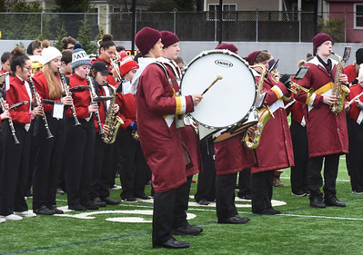 BRYAN EATON/Staff Photo. The Amesbury and Newburyport High School marching bands joined together for the playing of the Star Spangled Banner at the beginning of the Thanksgiving Day football game.