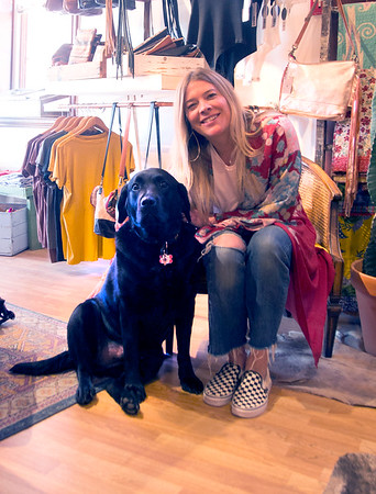 Jim Vaiknoras/File photo. Vader and Amanda Prescott in a photo earlier this year at her downtown Newburyport shop Vaalbara.