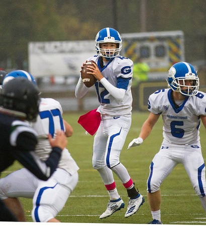 Ben Laing/Photo. Royals quarterback Stephen MacDonald surveys the field during a game against the Essex Tech Hawks earlier in this season.