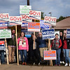 BRYAN EATON/Staff Photo. Kassandra Gove poses with supporters outside the polling station Tuesday morning, some joining her in Market Square on Wednesday morning thanking voters for electing her mayor.