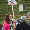BRYAN EATON/Staff Photo. Amesbury mayoral candidate Kassandra Gove chats with residents outside the polling station at Amesbury High School.