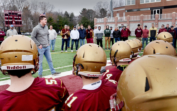 BRYAN EATON/Staff Photo. Guest speaker Joe Clancy, class of '08, who was quarterback and now coaches at Merrimack College.