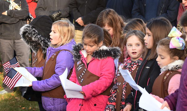 """BRYAN EATON/Staff photo. Brownies from Troop 72433 sing """"God Bless America"""" at Salisbury's Veteran Day services."""