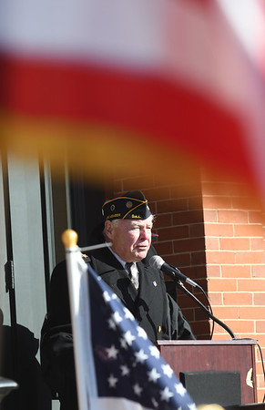 JIM VAIKNORAS/photo Veterans Agent Kevin Hunt speaks at the annual Veterans Day ceremony at City Hall Monday morning.