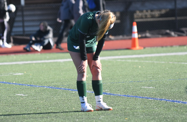 JIM VAIKNORAS/photo Manchester-Essex player Mia Cromwell after her teams loss to Amesbury in the North Sectional Championship at Manning Field in Lynn Sunday.