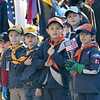 "JIM VAIKNORAS/photo Members of Cub Scout pack 21 look on as the Newburyport High School band plays ""Armed Forces Salute"" at the annual Veterans Day Ceremony at City Hall Monday."