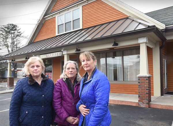 BRYAN EATON/Staff photo. Partners in Northeast Counseling Associates, from left, Karen Swicker, Pam Lund and Cynthia Hazelton are not happy about a proposed marijuana retail shop below their offices in the old Ezee Variety at 300 Newburyport Turnpike in Rowley.