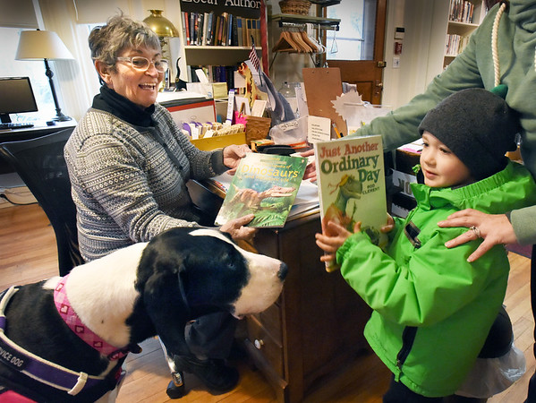 BRYAN EATON/Staff photo. The Emma Andrews Library and Community Center in Newburyport recently added a new volunteer to their staff, a service dog Danica, meeting Henry Panall, 4, with his mother Jill. The Great Dane's partner and owner is Susan Dodge, left, a long time volunteer at the library. Dodge, who has rheumatoid arthritis, applied to the Service Dog Project in mid-2017 for consideration to be paired with one of their Great Danes to assist her in dealing with increased mobility issues and says Danica has been a hit with patrons there and feels quite at home.