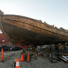 JIM VAIKNORAS/Staff photo tTe Shallop for the Mayflower II at Lowell Boat Shop in Amesbury where it is being restored.
