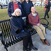 BRYAN EATON/Staff photo. One of the first families to buy a bench to support the new Veterans Memorial at Salisbury Town Common was the Flahery family in memory of their parents 1st. Lt. John W. and Emily C. Flaherty. Clockwise from back left, Richard, Anthony, Thomas and Christine Flaherty.