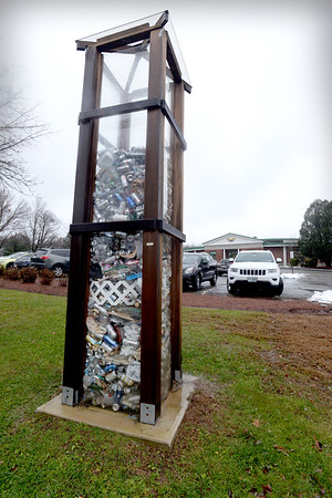 "BRYAN EATON/Staff photo. The ""trash tower"" at Newbury Elementary School."