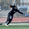 JIM VAIKNORAS/photo Amesbury's Allison Napoli makes a save against Mancester-Essex during their game at Manning Field in Lynn Sunday. Amesbury won the game 2-1 in double overtime.