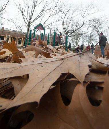 JIM VAIKNORAS/photo Leaves cover the Tot Lot on Inn Street in Newburyport Sunday morning.