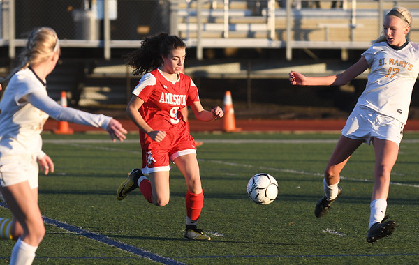JIM VAIKNORAS/photo Amesbury's Madelyn DiPetro advances the ball against St Mary's at Manning Field in Lynn Thursday. Amesbury won the game 1-0.