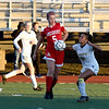 JIM VAIKNORAS/photo Amesbury's Alyssa Pettet advances the ball against St Mary's at Manning Field in Lynn Thursday. Amesbury won the game 1-0.