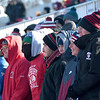 JIM VAIKNORAS/photo Amesbury fans bundle up at their teams game against Newburyport Thursday at Landry Stadium in Amesbury. The Indians won the game 8-0.