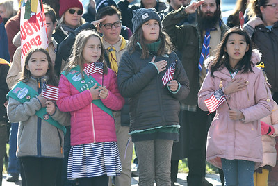 JIM VAIKNORAS/photo Members of Girl Scout Troop 86214 hold flags and cover their hearts during the National Anthem at the annual Veterans Day Ceremony at City Hall Monday.