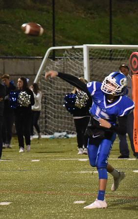BRYAN EATON/Staff photo. Georgetown quarterback Stephen MacDonald throws to Matthew Galley.