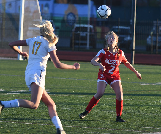 JIM VAIKNORAS/photo Amesbury's Madelyn Creps with a header against St Mary's at Manning Field in Lynn Thursday. Amesbury won the game 1-0.