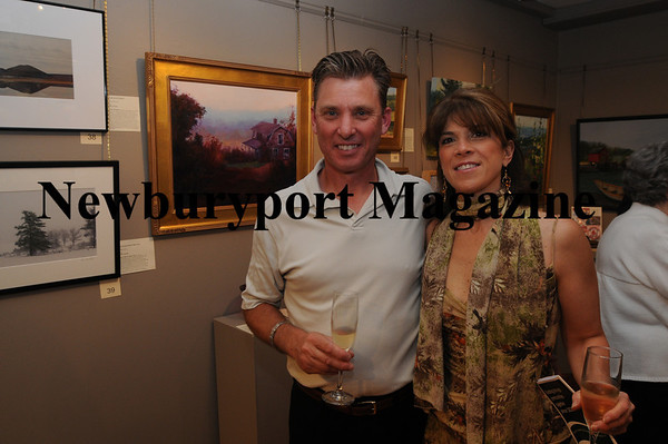Gerry Boucher and Suzanne Pointras enjoy the recieption before the Art Association Auction