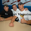 Byfield: Wrestler John Cena, on the right , with his dad John and his brother Newbury  policeman Daniel Cena at an autograph  signing at Triton Friday night.<br /> Photo by Jim Vaiknoras/Newburyport Daily News. Saturday, May 26, 2007
