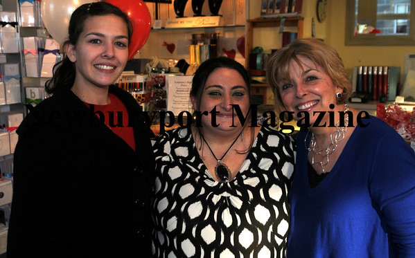 Adria Pelletier, Rebecca Pearson and Pat Valentine at Valentine's Valentine's Day party. photo by Jim Vaiknoras