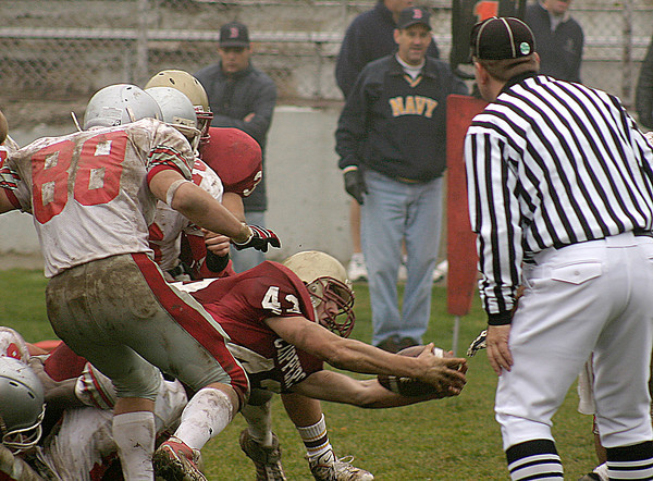Newburyport:<br /> Newburyport's Justin Burl stretches to get the ball across the goal line in the third quarter of Thursday's Thanksgiving Day football game against Amesbury at World War Memorial Stadium. <br /> Photo by Ben Laing/Newburyport Daily News Thursday, November 22, 2007