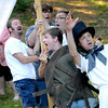 "Newburyport:Scott Smith as Peer Gynt, with Matt Keily at the wheel, Joe Heafitz, Spencer O'Doud,  and Peter Sheridan all holding up the mast in the Theater in the Open's production of Ibsen's ""Peer Gynt"".<br /> Photo by Jim Vaiknoras/Newburyport Daily News Tuesday, July 15, 2008"