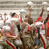 Newburyport:<br /> Players from Amesbury celebrate after the final whistle blows. They defeated Newburyport 17-12 at World War Memorial Stadium. <br /> Photo by Ben Laing/Newburyport Daily News Thursday, November 22, 2007