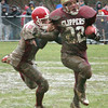 Newburyport: <br /> Amesbury's E.J. Flanagan  moves in on Clipper's Joe Pace yesterday in Newburyport.<br /> Photo by Bryan Eaton/Newburyport Daily News. Thursday, November 24, 2005