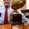 Newburyport: <br /> Newburyport High assistant football coach Bob Clarke has been named the 2005 recipient of the Cape Ann League Assistant of the Year. <br /> <br /> (((he's with the Chase Trophy)))<br /> Photo by Bryan Eaton/Newburyport Daily News. Wednesday, January 19, 2005