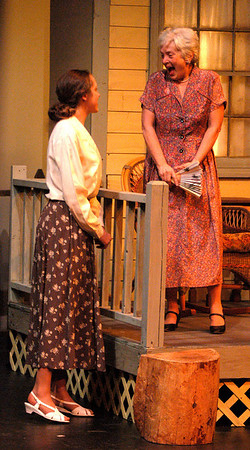 "Newburyport: <br /> Sarah Baily as Myrtle and Barbara Hilton as Aunt Arry in "" Mornings at Seven "" at the Firehouse.<br /> Photo by Jim Vaiknoras/Newburyport Daily News. Tuesday, January 11, 2005"