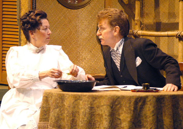 """Newburyport: <br /> Stephen Turner as Felex Ducotel and Maureen Daley as Emilie Docotel in the Firehouse production on """"My Three Angels""""<br /> Photo by Jim Vaiknoras/Newburyport Daily News. Sunday, June 11, 2006"""