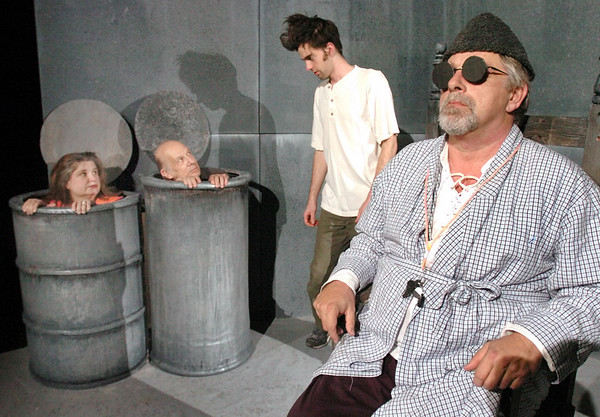 """Newburyport: <br /> The cast of Samuel Beckett's play """"Endgame"""" coming up at the FIrehouse Center in rehearsal. From left, Bonniejean Wilbur, Greg Chabot, Dylan Fuller and Paul Wann.<br /> Photo by Bryan Eaton/Newburyport Daily News. Tuesday, November 14, 2006"""