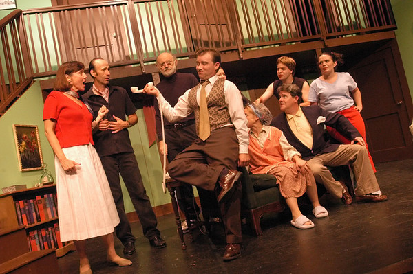 """Newburyport: <br /> """"Noises Off"""" wraps up this Sunday at the Firehouse Center in Newburyport.<br /> Photo by Bryan Eaton/Newburyport Daily News. Monday, August 23, 2004"""