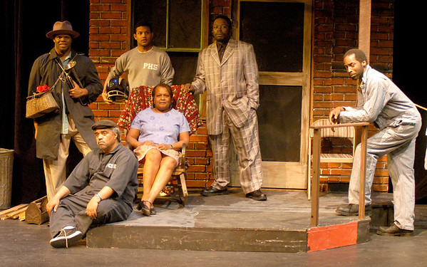 """Newburyport: <br /> Kevin Wade Mitchell as """"Bono"""", Jamie Cepero as """"Cory"""",  Raphael as """" Gabe"""", Sandi Clark as """"Rose"""", Tonyu Massey as """"Lyons"""" and Micheal Henderson as """"Troy"""" in the Firehouse production of """"Fences"""".<br /> Photo by Jim Vaiknoras/Newburyport Daily News. Monday, February 20, 2006"""