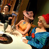"Newburyport: <br /> Jen MacLean ""Stepmother"" tells her daughters Rachel McBride ""Portia"" and Allie Hadwen ""Joy"" about courting men in the Firehouse Center production of Cinderella.<br /> Photo by Bryan Eaton/Newburyport Daily News. Tuesday, July 27, 2004"