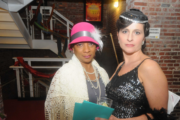Beth Falconer and Kathleen Bailey at the Roaring 20<br /> party at the Firehouse