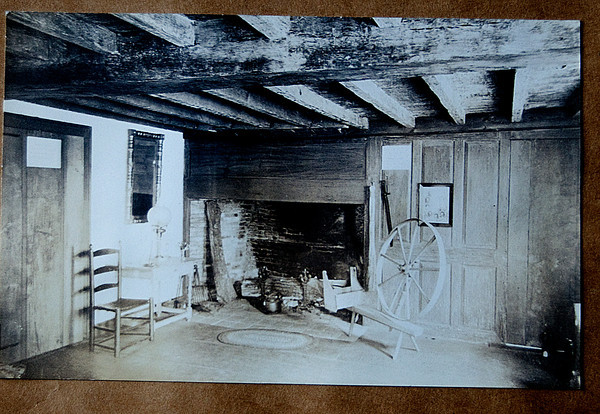 A photograph taken around 1900 of the fire place at the Swett House in Newbury