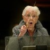 "99 year old Betty Gillette conducts the Newburyport Choral Society in ""Silent Night"""