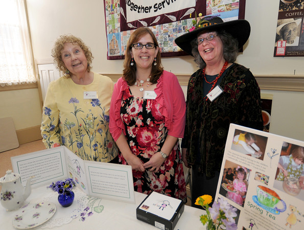 "Newburyport,  Linda Seeley of Ipswich, Alison Ney of Amesbury, and Cameron Sesto of Newbury.at a tea at the Central Congregational Church in Newburyport Sunday celebrating the release of their  book ""Spring Tea: A Celebration of Grace and Courtesy"" ,  The event included  tea served by children from the church and community.<br /> as well as  lemonade, tarts, and cucumber sandwiches. Jim Vaiknoras/staff photo"