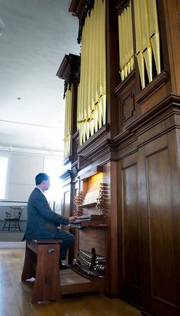 Newburyport: Organist Jay Lane at the Joseph Alley organ. Bryan Eaton/Staff Photo