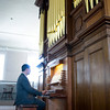 Newburyport: Organist Jay Lane at the Joseph Alley organ. Bryan Eaton/Staff Photo