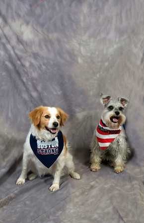 Sandy with a Boson Strong bandana, retail $8.99 and Abby with a Newburyport bandana., retail $9.99.