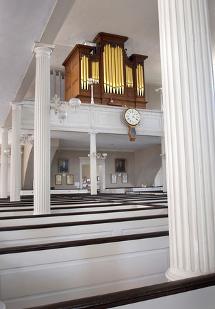 The rare Joseph Alley organ, at the First Religious Society. Bryan Eaton/Staff Photo