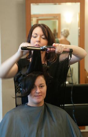 Mary LaPointe gets her hair done by stylist Amanda Bartlett at Interlocks in Newburyport.