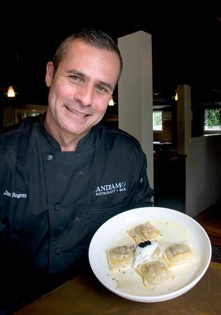 Newburyport: Owner/Chef Jim Rogers of Andiamo with his signature Butternut Squash Ravioli. Bryan Eaton/Staff Photo