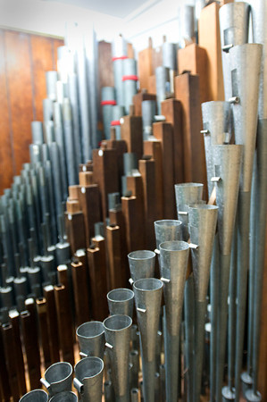 Newburyport: Some of the many smaller pipes in the organ hidden from view. Bryan Eaton/Staff Photo